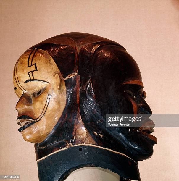 A janiform mask used in the Ekpo secret society which formerly exercised governmental functions among the Ekoi The masks were used at society...