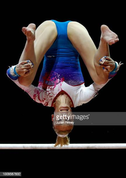 Janik Gabriela of Poland competes in the uneven bars during Rotation 2 of the Team Women event qualification subdivision 2 during the Team Women...