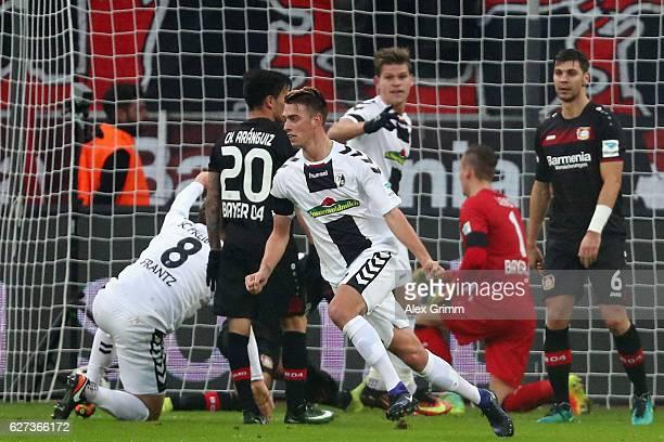 Janik Haberer of Freiburg celebrates his team's first goal during the Bundesliga match between Bayer 04 Leverkusen and SC Freiburg at BayArena on...
