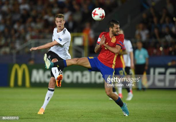 Janik Haberer of Germany and Dani Ceballos of Spain during their UEFA European Under21 Championship 2017 final match on June 30 2017 in Krakow Poland