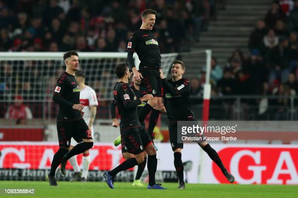 Janik Haberer of SportClub Freiburg celebrates scoring his teams first goal of the game during the Bundesliga match between VfB Stuttgart and...