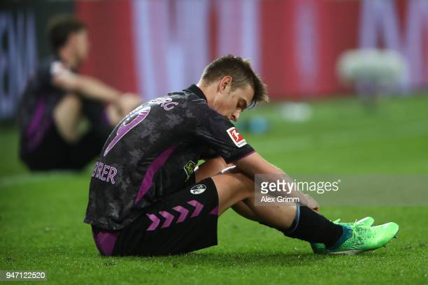 Janik HabererÊof Freiburg looks dejected after the final whistle during the Bundesliga match between 1 FSV Mainz 05 and SportClub Freiburg at Opel...