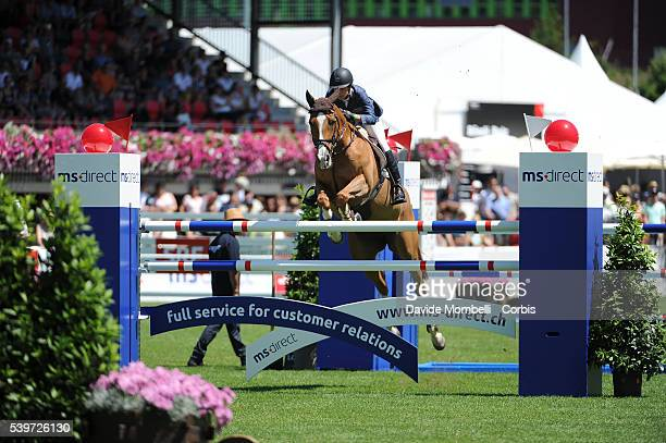 Janika and Bonne Chance Cw during the Nations Cup CSIO on the grass field of St Gallen in Switzerland in 2015