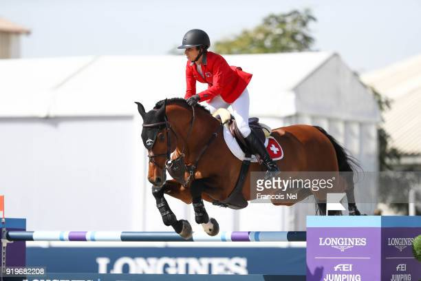 Janika Sprunger of Switzerland rides Bacardi VDL during The President of the UAE Show Jumping Cup at Al Forsan on February 17 2018 in Abu Dhabi...