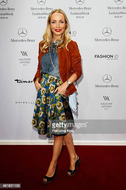 Janin Reinhardt attends the Marc Cain show during the MercedesBenz Fashion Week Berlin Autumn/Winter 2015/16 at Brandenburg Gate on January 20 2015...