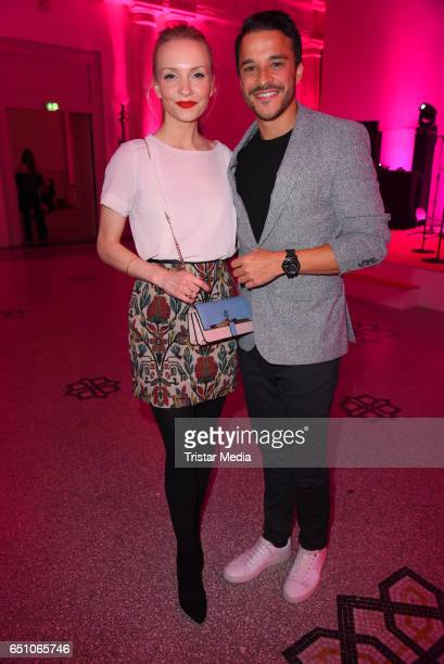 Janin Ullmann and her husband Kostja Ullmann attend the JT Touristik Pink Carpet party at Hotel De Rome on March 9 2017 in Berlin Germany
