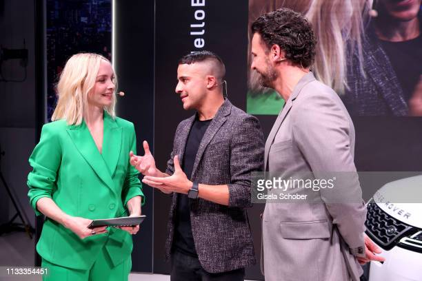 Janin Ullmann and Kostja Ullmann and Stephan Luca during the presentation of the new Range Rover Evoque at Berlin Bridge Studios on March 28 2019 in...