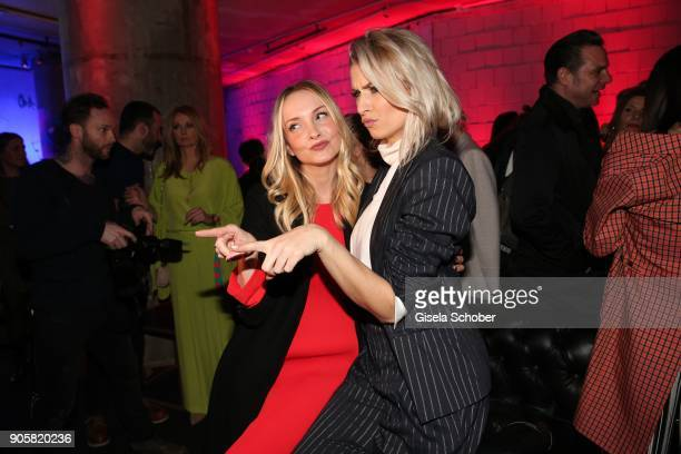 Janin Ullmann and Model Lena Gercke during the Marc Cain Fashion Show Berlin Autumn/Winter 2018 at metro station Potsdamer Platz at on January 16...