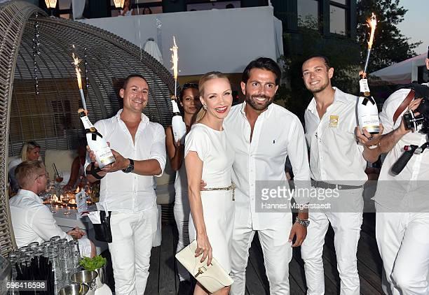 Janin Ullmann and Serhat Yilmaz uring the Serfan fashion show night on August 27 2016 in Starnberg Germany