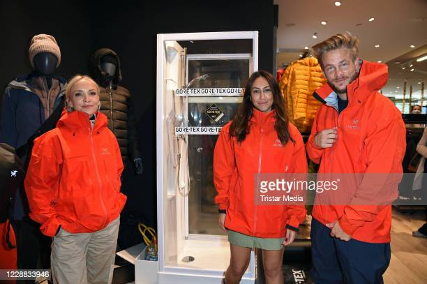 Janin Ullmann, Melissa Khalaj and Frederic Heidorn during the Globetrotter store re-opening at Schlossstrasse on October 1, 2020 in Berlin, Germany.