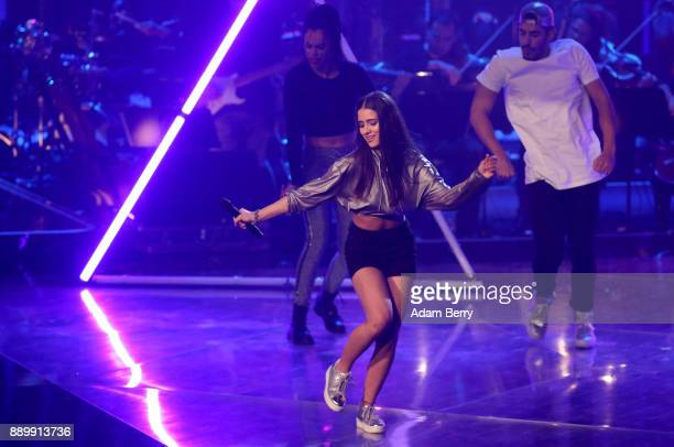 Janina Beyerlein performs during the 'The Voice of Germany' semifinals at Studio Berlin Adlershof on December 10 2017 in Berlin Germany The finals...