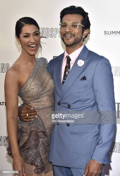 Janina Gavankar and Utkarsh Ambudkar attend the premiere of Summit Entertainment's 'Blindspotting' at The Grand Lake Theater on July 11 2018 in...