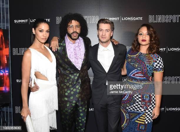 Janina Gavankar Daveed Diggs Rafael Casal and Jasmine Cephas Jones attend the screening of Blindspotting hosted by Lionsgate at Angelika Film Center...