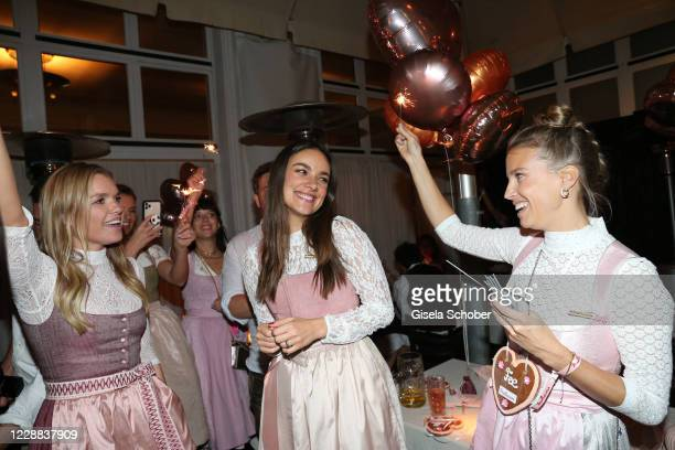 Janina Hell Janina Uhse Felicitas Karrer celebrates Janina Uhses birthday during the Madlwiesn 2020 at Restaurant Borchardt on October 1 2020 in...