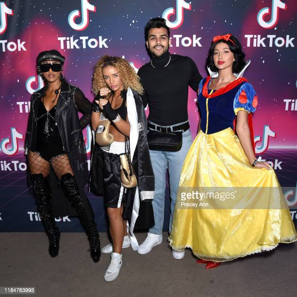 JaNINA Jena Frumes Adam Waheed and Model Roz attend TikTok Halloween Party on October 31 2019 in Los Angeles California