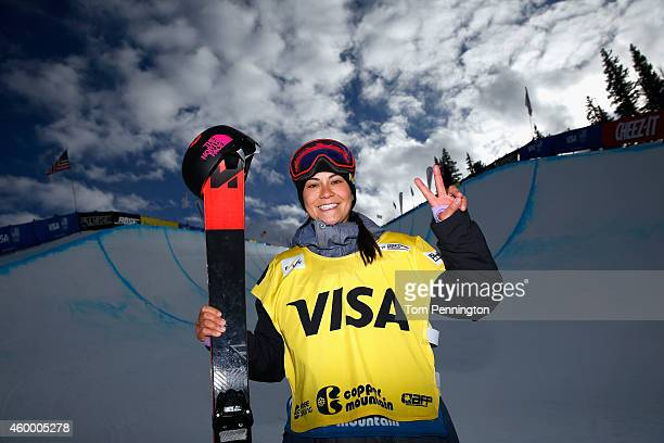 Janina Kuzama of New Zealand poses after winning the final round of the FIS Freestyle Ski World Cup 2015 ladies' ski halfpipe during the USSA Grand...