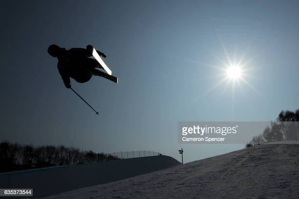 Janina Kuzma of New Zealand skis during a training session for the FIS Freestyle World Cup 2016/17 Ski Halfpipe at Bokwang Snow Park on February 15...