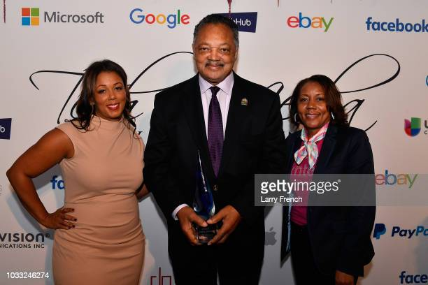 Janina Lundy Reverend Jesse Jackson and Barbara Whye appear at IMPACT Strategies and DP Creative Strategies Tech Media day party and brunch at...
