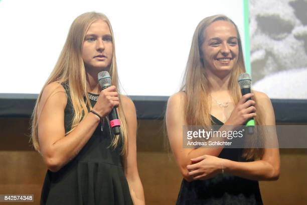 Janina Minge and Sophia Kleinherne during the FritzWalterMedaille Awarding Ceremony on September 4 2017 in Stuttgart Germany