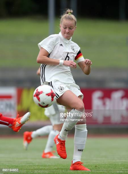 Janina Minge of Germany blocks the ball during the U19 women's elite round match between Germany and Switzerland at Friedensstadion on June 9 2017 in...