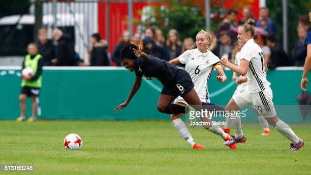 Janina Minge of Germany challenges Brianna Pinto of USA during the international friendly match between U19 Women's Germany and U19 Women's USA at...