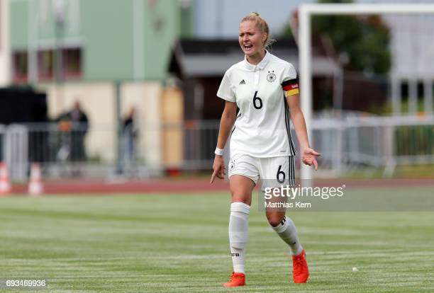 Janina Minge of Germany gestures during the U19 women's elite round match between Germany and Iceland at Friedensstadion on June 7 2017 in...