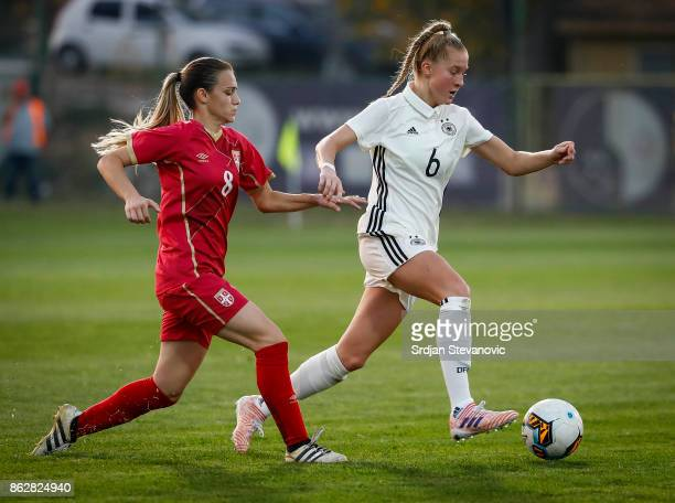 Janina Minge of Germany in action against Andrijana Trisic of Serbia during the international friendly match between U19 Women's Serbia and U19...