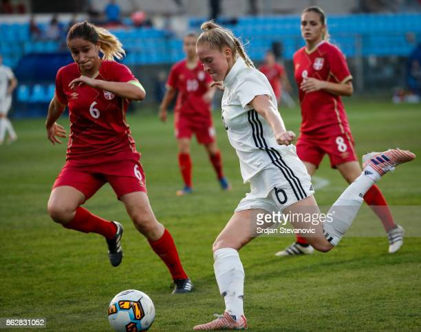 Janina Minge of Germany in action Nevena Milivojevic of Serbia during the international friendly match between U19 Women's Serbia and U19 Women's...