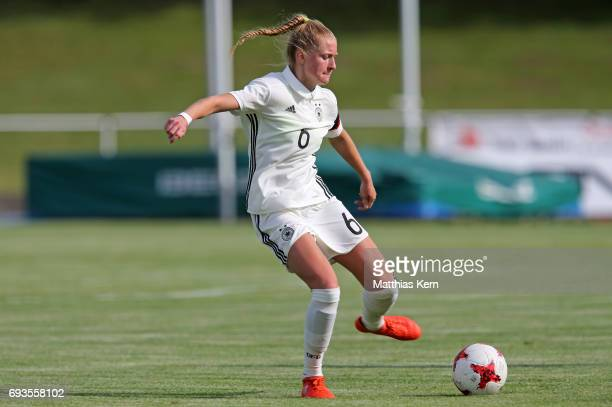 Janina Minge of Germany runs with the ball during the U19 women's elite round match between Germany and Iceland at Friedensstadion on June 7 2017 in...