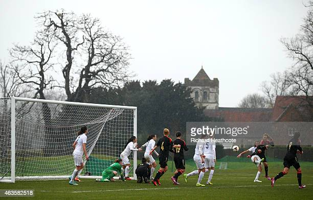 Janina Minge of Germany scores a goal during the U17 Girls International Friendly match between England and Germany at Bisham Abbey on February 16...