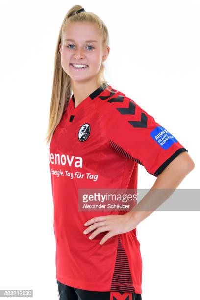 Janina Minge of SC Freiburg poses during the Allianz Frauen Bundesliga Club Tour at Elbigenalp on August 21 2017 in Elbigenalp Austria