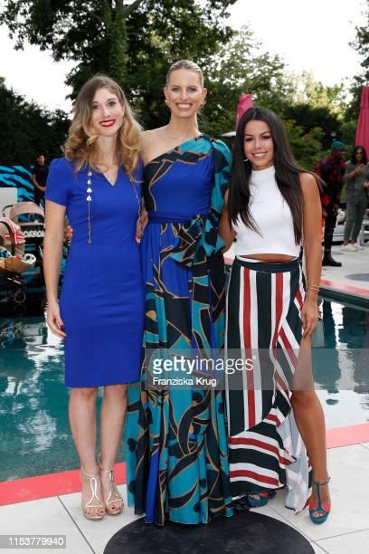 "Janina Otto, Karolina Kurkova and Fernanda Brandao during the CYBEX by Karolina Kurkova ""4th of July Fashion BBQ"" at Villa Westend on July 4, 2019 in..."