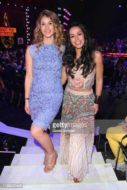 Janina Otto, wife of Benjamin Otto and Fernanda Brandao during the 3rd ABOUT YOU Awards at Bavaria Studios on April 18, 2019 in Munich, Germany.