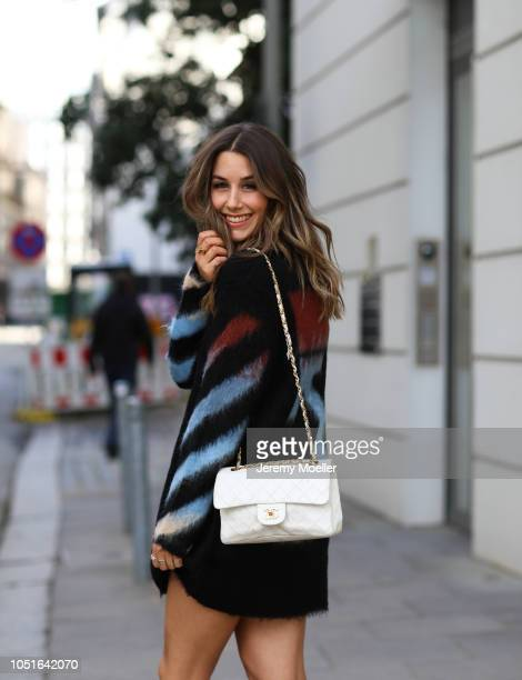 Janina Pfau wearing a Off White sweater Chanel bag and Louis Vuitton Archlight Sneaker on October 08 2018 in Hamburg