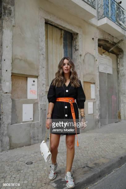 Janina Pfau wearing Off White belt Zara dress Chanel bag Chloe shoes Dior and Chloe jewelry on June 18 2018 in Lisbon Portugal