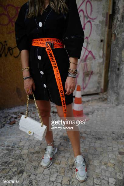 Janina Pfau wearing Off White belt Zara dress Chanel bag Chloe shoes Dior and Chloe jewelry on June 18 2018 in Lisbon Portugal