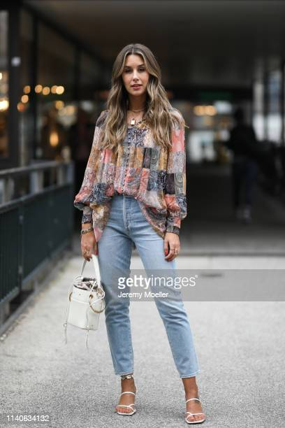 Janina Pfau wearing Zimmermann blouse Citizens of Humanity jeans Chloe bag and Zara heels on April 05 2019 in Hamburg Germany