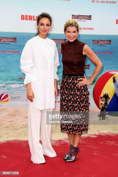 Janina Uhse and Anke Engelke attend the 'Hotel Transsilvanien 3' premiere at CineStar on July 8 2018 in Berlin Germany