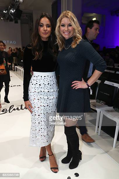 Janina Uhse and Annica Hansen attend the Marcel Ostertag show during the MercedesBenz Fashion Week Berlin A/W 2017 at on January 18 2017 in Berlin...