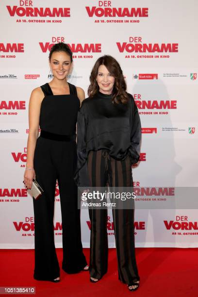 Janina Uhse and Iris Berben attend the German premiere of the film 'Der Vorname' at Cineplex Cologne on October 08 2018 in Cologne Germany