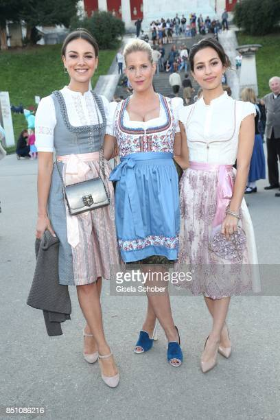 Janina Uhse Anika Decker and Gizem Emre at the Madlwiesn event during the Oktoberfest at Theresienwiese on September 21 2017 in Munich Germany
