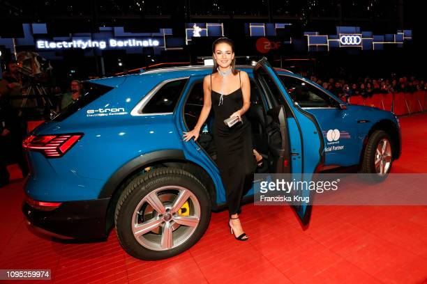 """Janina Uhse arrives in Audi e-tron car for the """"The Kindness Of Strangers"""" premiere during the 69th Berlinale International Film Festival at..."""