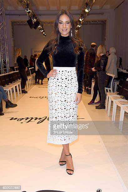 Janina Uhse attends the Marcel Ostertag show during the MercedesBenz Fashion Week Berlin A/W 2017 at Delight Rental Studios on January 18 2017 in...