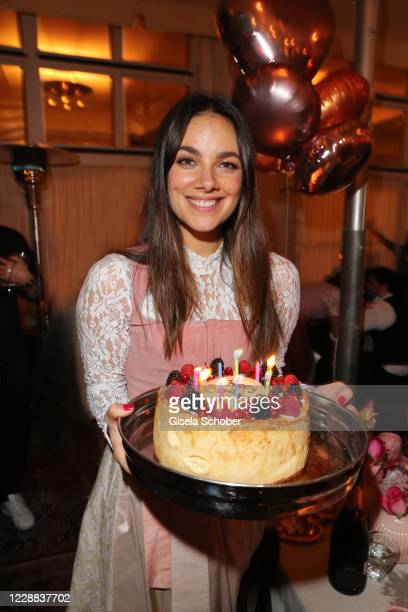 Janina Uhse celebrates her birthday during the Madlwiesn 2020 at Restaurant Borchardt on October 1 2020 in Berlin Germany