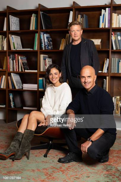 Janina Uhse Justus von Dohnanyi and Christoph Maria Herbst pose at the 'Der Vorname' portrait session during the 14th Zurich Film Festival on October...