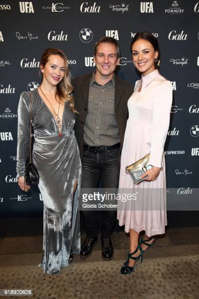 Janina Uhse Rene Steinke and Laura Osswald during the Berlin Opening Night by GALA and UFA Fiction at Das Stue on February 15 2018 in Berlin Germany