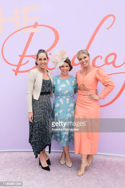 Janine Allis, Sharn Coombes and Abbey Holmes attend Oaks Day at Flemington Racecourse on November 07, 2019 in Melbourne, Australia.