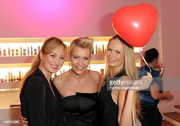 Janine Barth, Alexandra Rietz and Eva Krsak attend the ABC For Kids Charity Event at the baSH Club on December 16, 2011 in Munich, Germany.