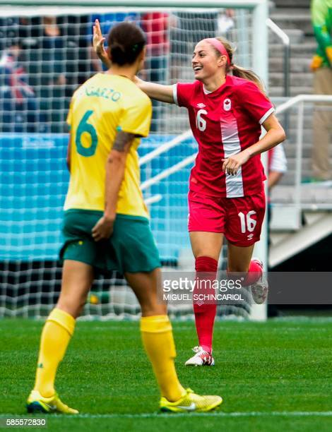 Janine Beckie of Canada celebrates her goal scored against Australia during their Rio 2016 Olympic Games womens First Round Group F football match...