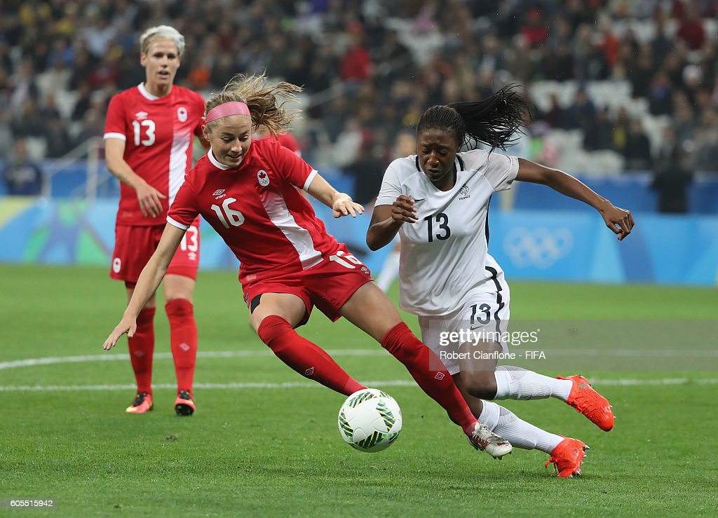 Janine Beckie of Canada challneges Diani Kadidiatou of France during the Women's Football Quarter Final match between Canada and France on Day 7 of the Rio 2016 Olympic Games at Arena Corinthians on August 12, 2016 in Sao Paulo, Brazil.
